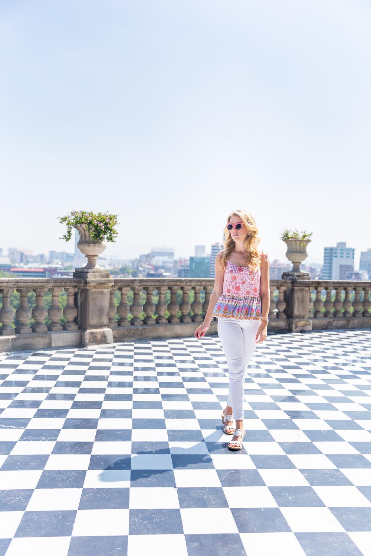 Mexico City Castillo de Chapultupec Summer Outfit White Jeans Peplum Cami-3.jpg