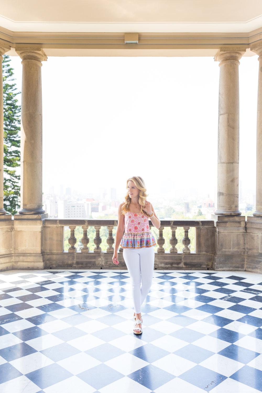 Mexico City Castillo de Chapultupec Summer Outfit White Jeans Peplum Cami-5.jpg