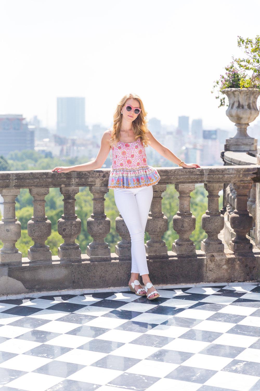 Mexico City Castillo de Chapultupec Summer Outfit White Jeans Peplum Cami.jpg