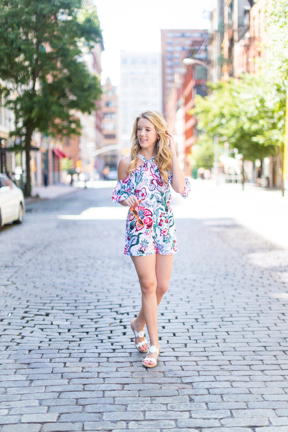 NYC Summer Outfit Floral Ruffled Romper-8.jpg
