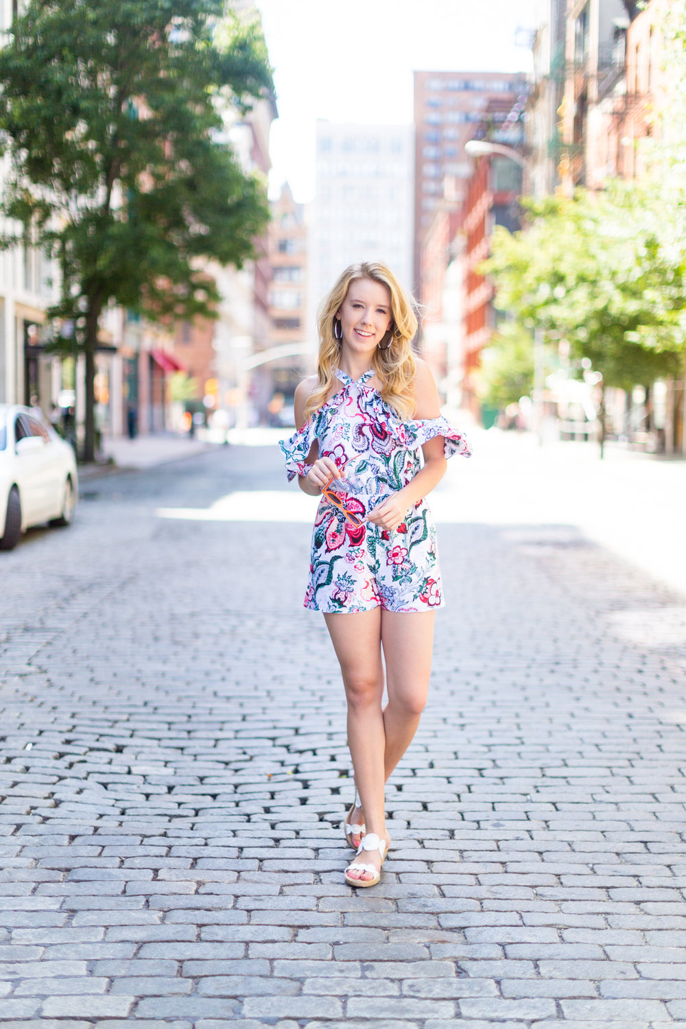 NYC Summer Outfit Floral Ruffled Romper-9.jpg