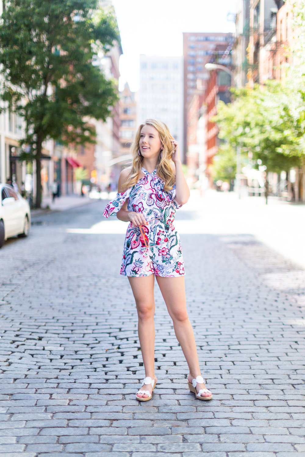 NYC Summer Outfit Floral Ruffled Romper-11.jpg