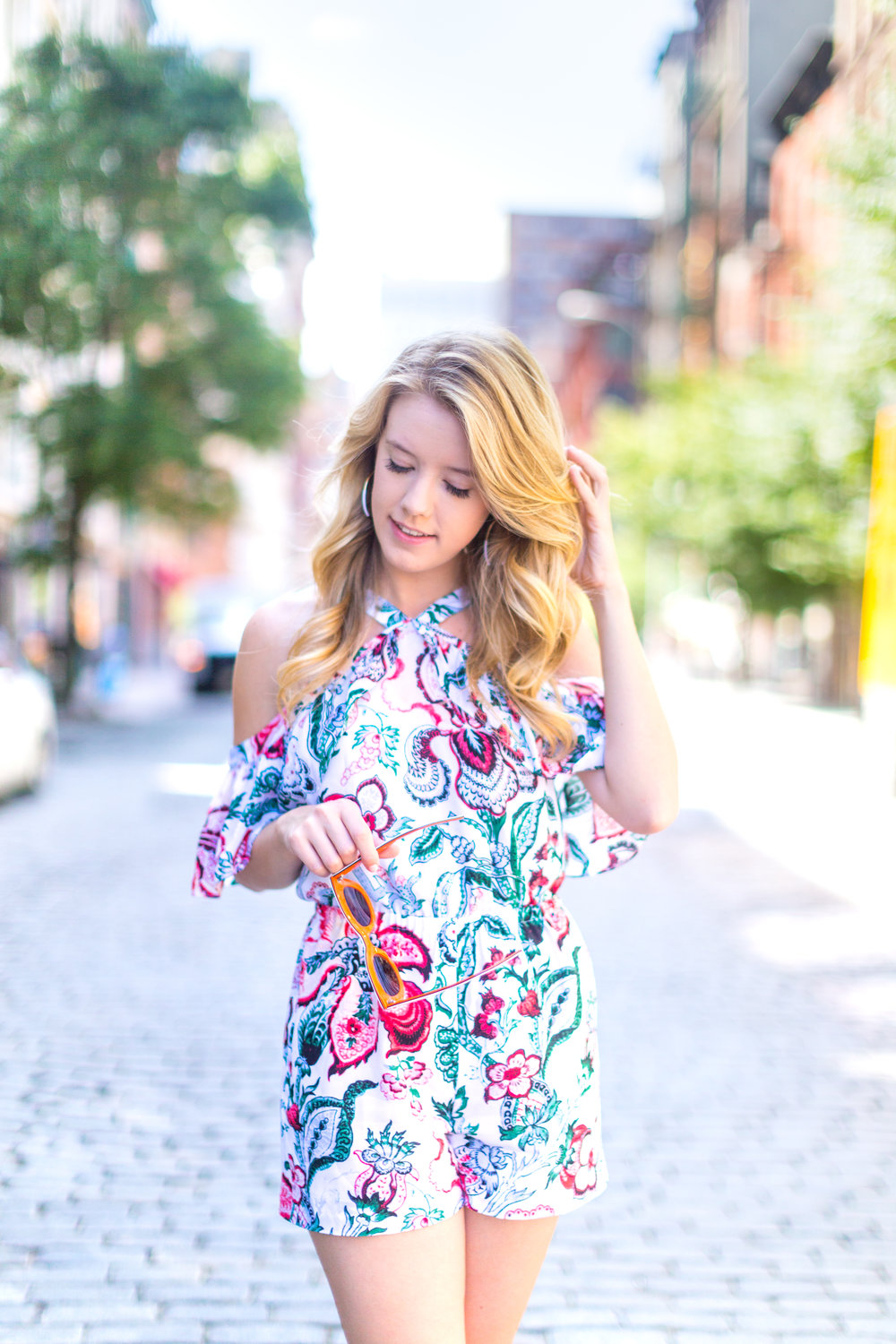 NYC Summer Outfit Floral Ruffled Romper-13.jpg