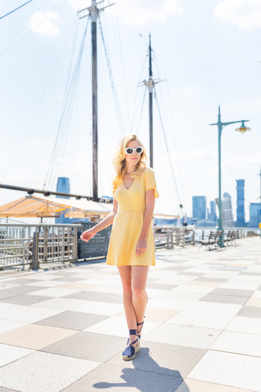 Summer Fashion Yellow Striped Dress NYC Grand Banks Bar-3.jpg