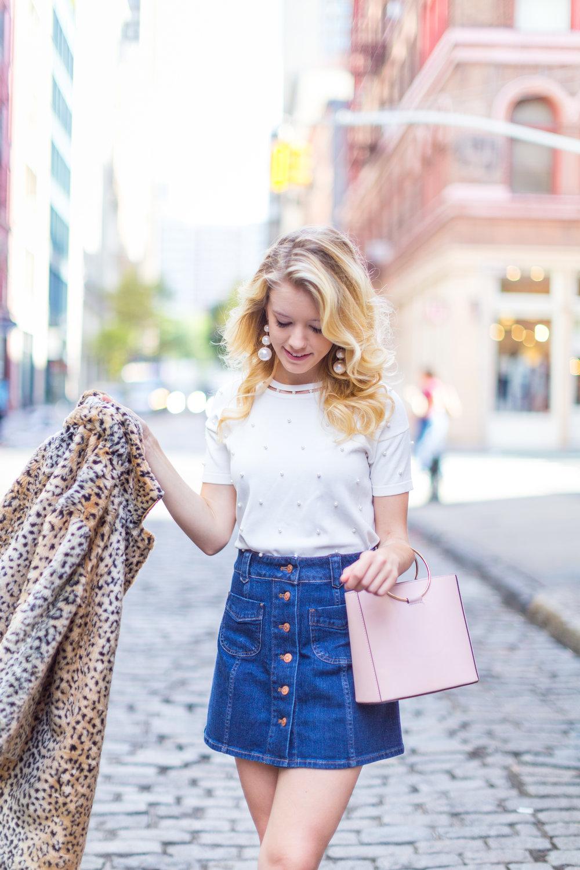 Fall Fashion Denim Mini Skirt and Pearl Embellished Top.jpg