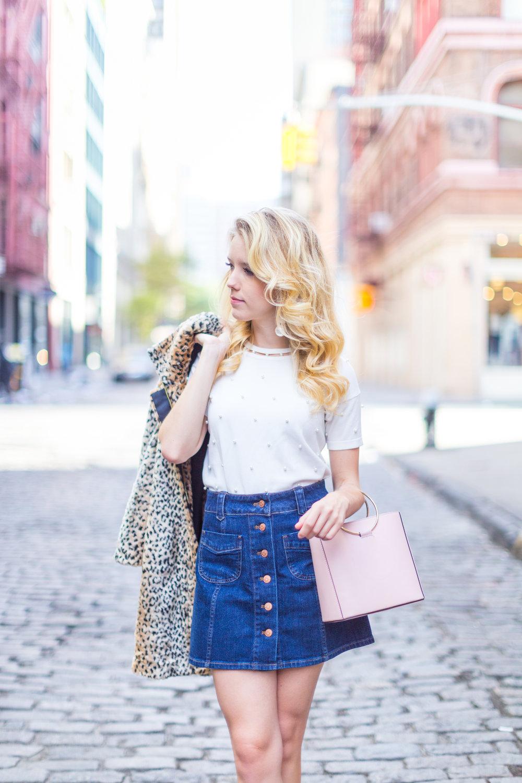 Fall Fashion Denim Mini Skirt and Pearl Embellished Top-4.jpg