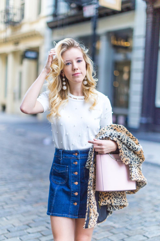 Fall Fashion Denim Mini Skirt and Pearl Embellished Top-5.jpg