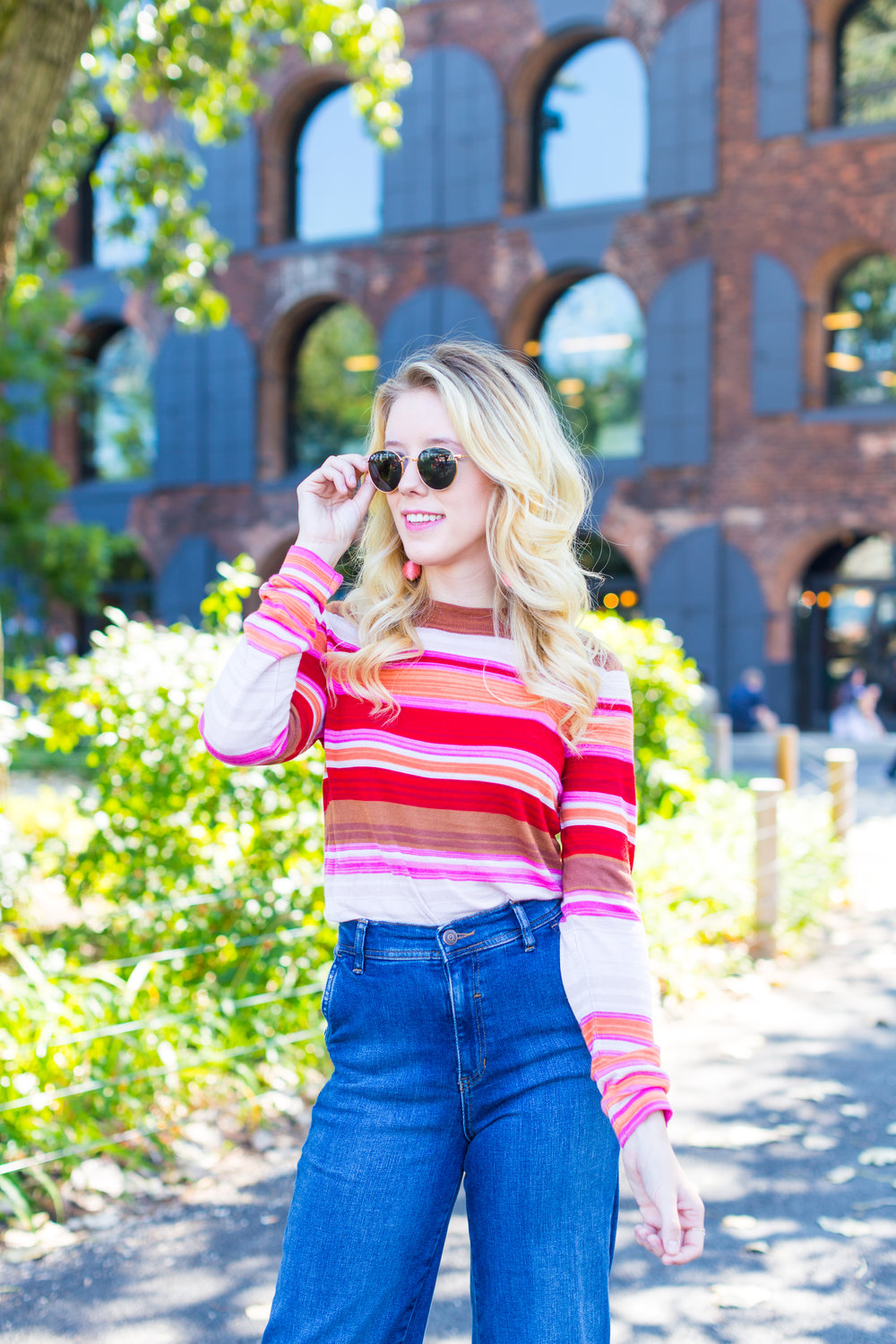 Fall Fashion Retro Striped Sweater and Wide Leg Jeans-5.jpg