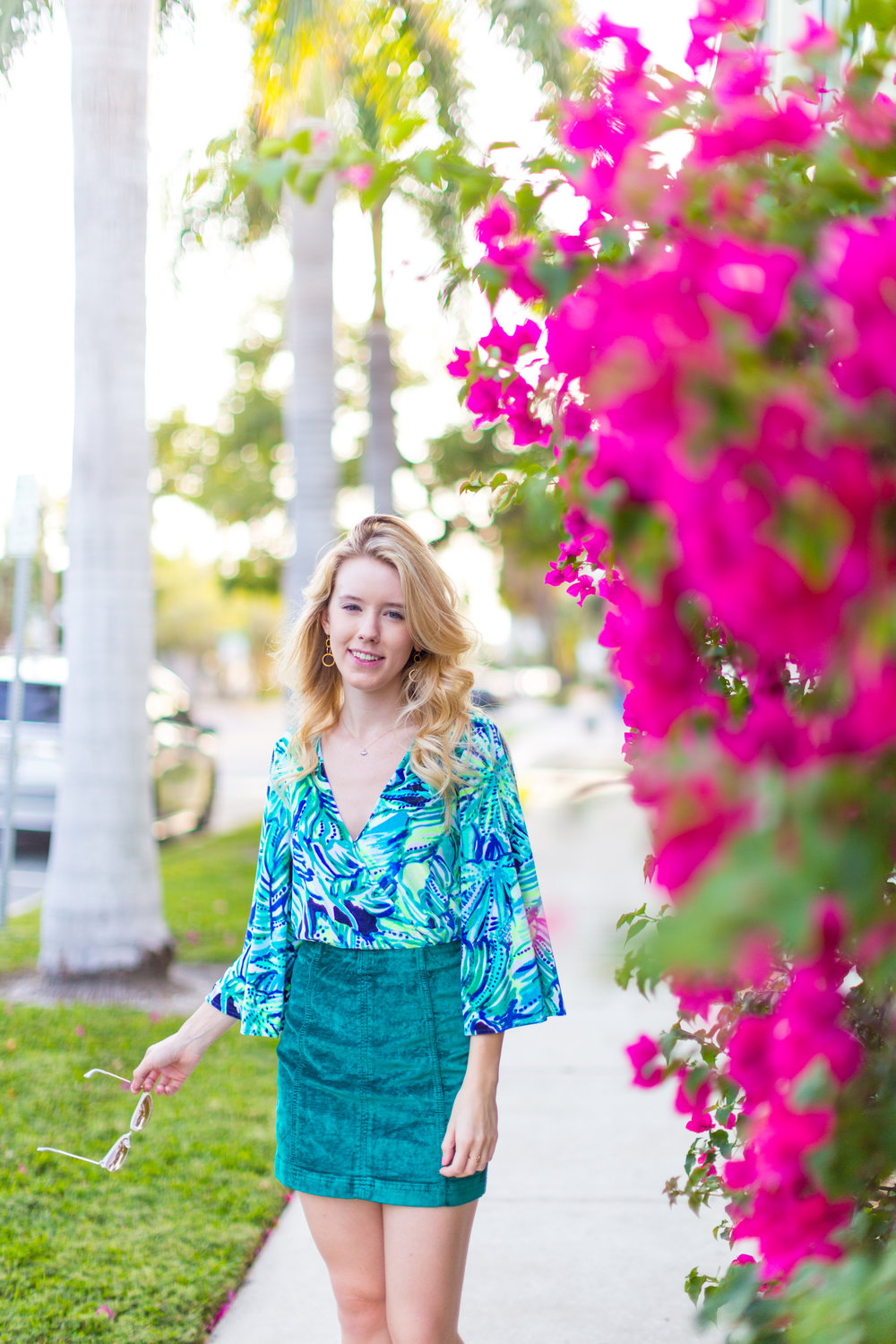 Preppy Fall Fashion Lilly Pulitzer Florida Green Skirt.jpg