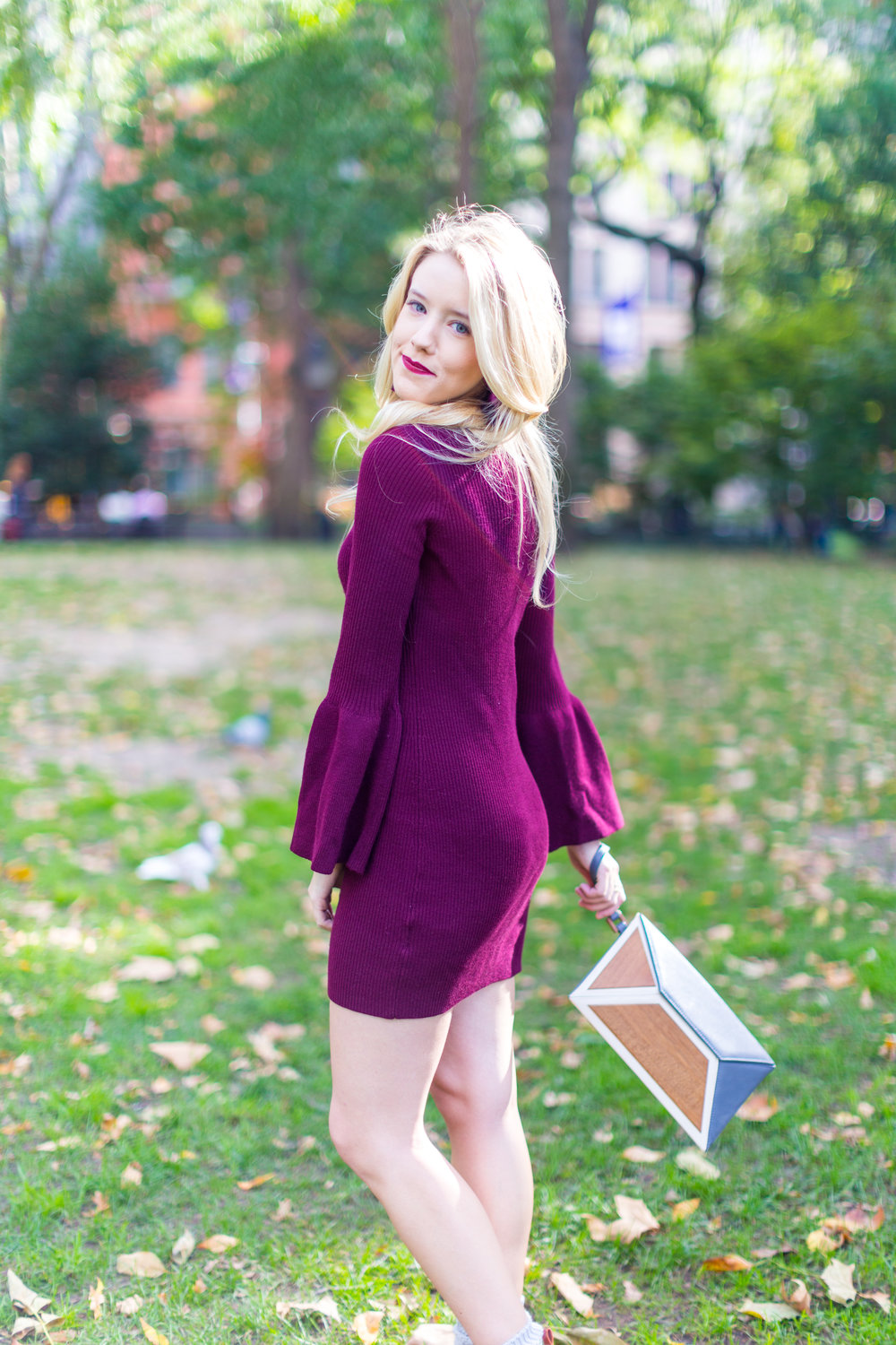 NYC Fall Fashion Burgundy Sweater Dress-2.jpg