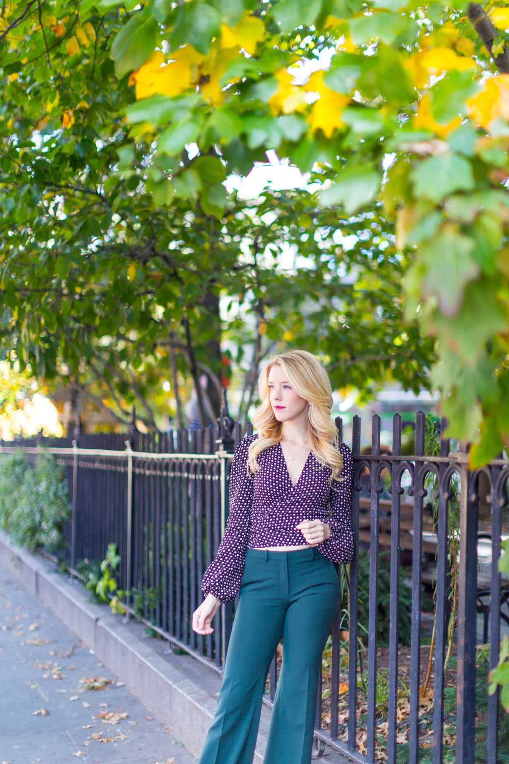 NYC Fall Fashion Trends Wrap Top Flare Pants.jpg