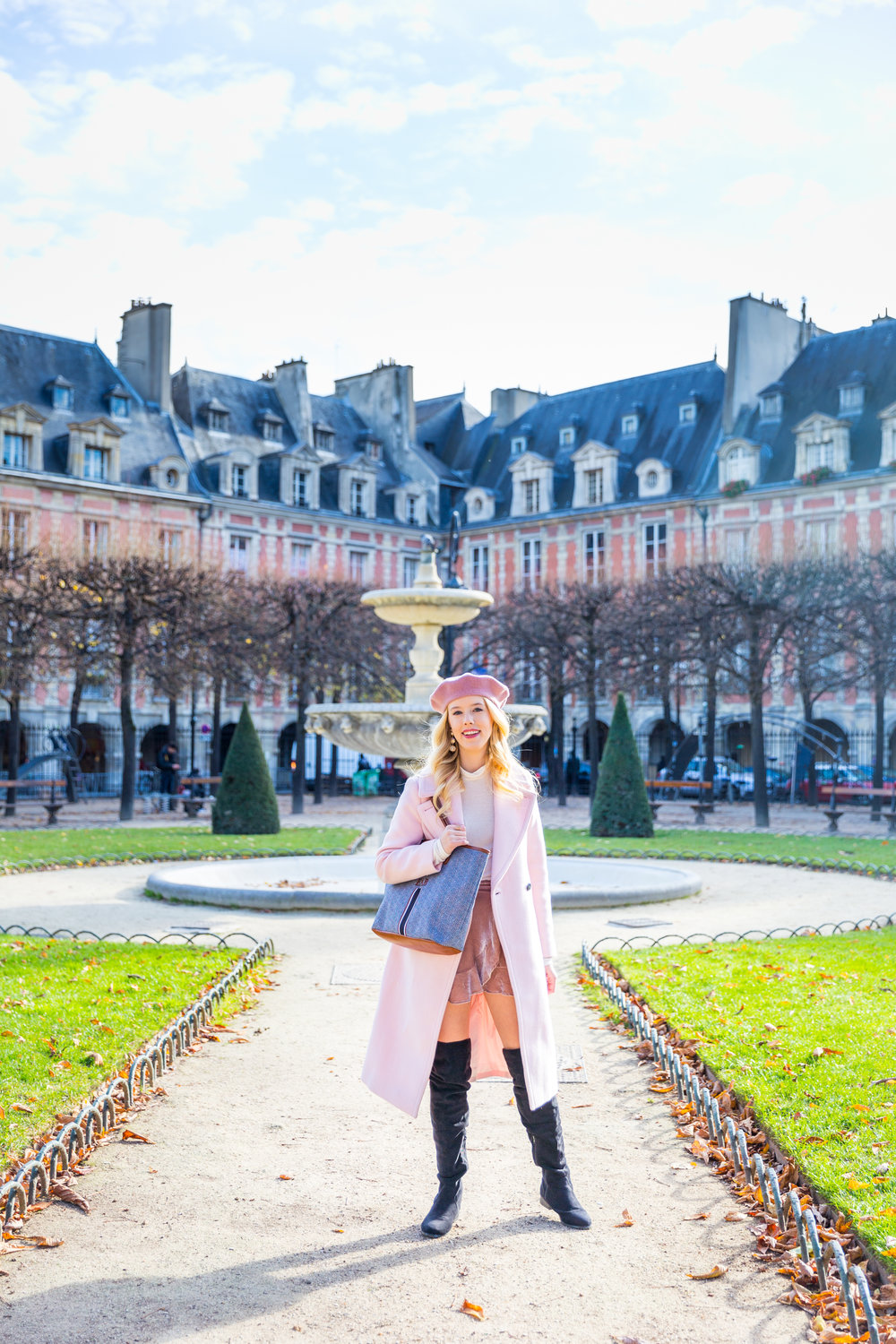 Paris Fall Fashion Pink Velvet Wrap Skirt Pink Beret White Turtleneck.jpg