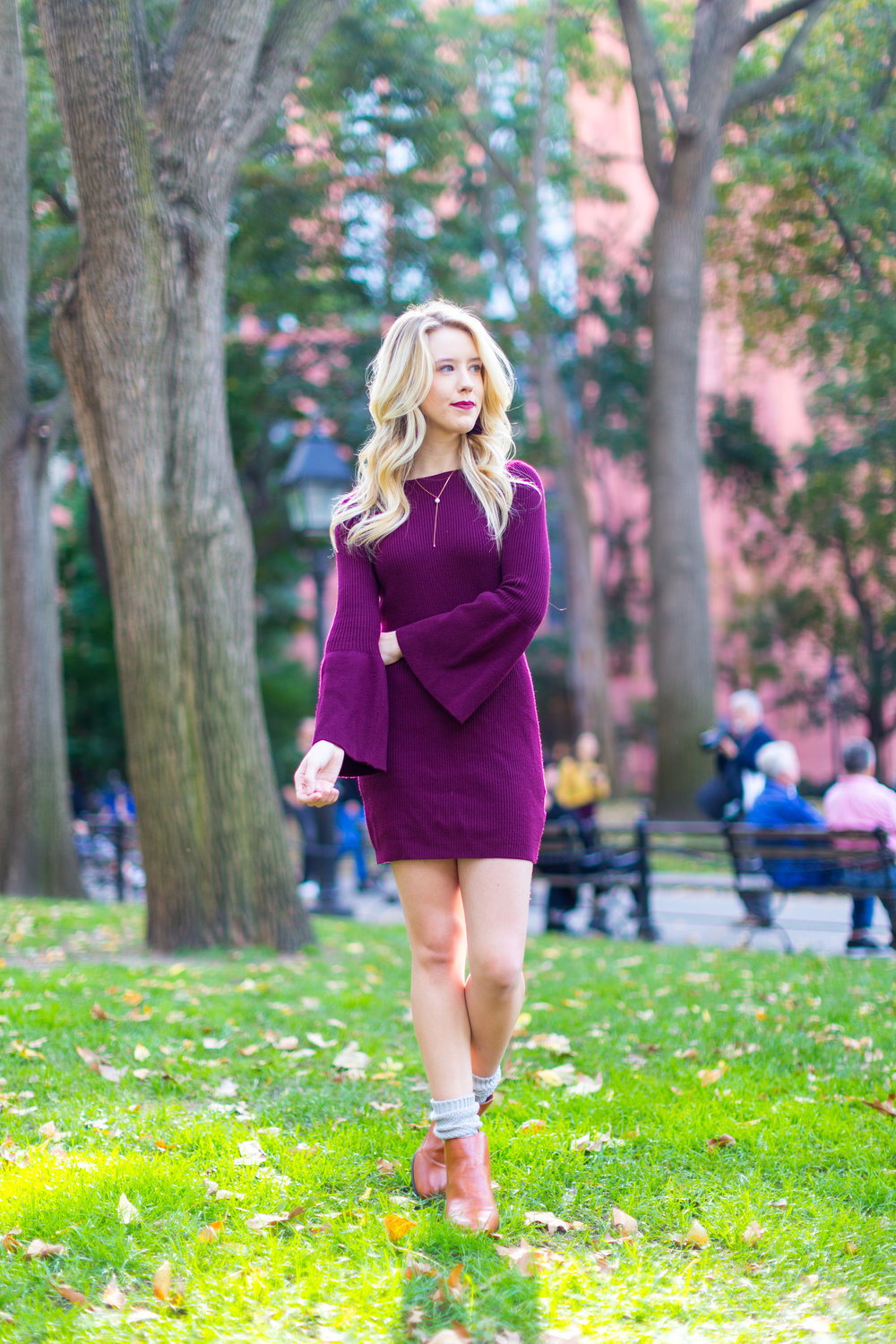 NYC Fall Fashion Burgundy Sweater Dress-3.jpg