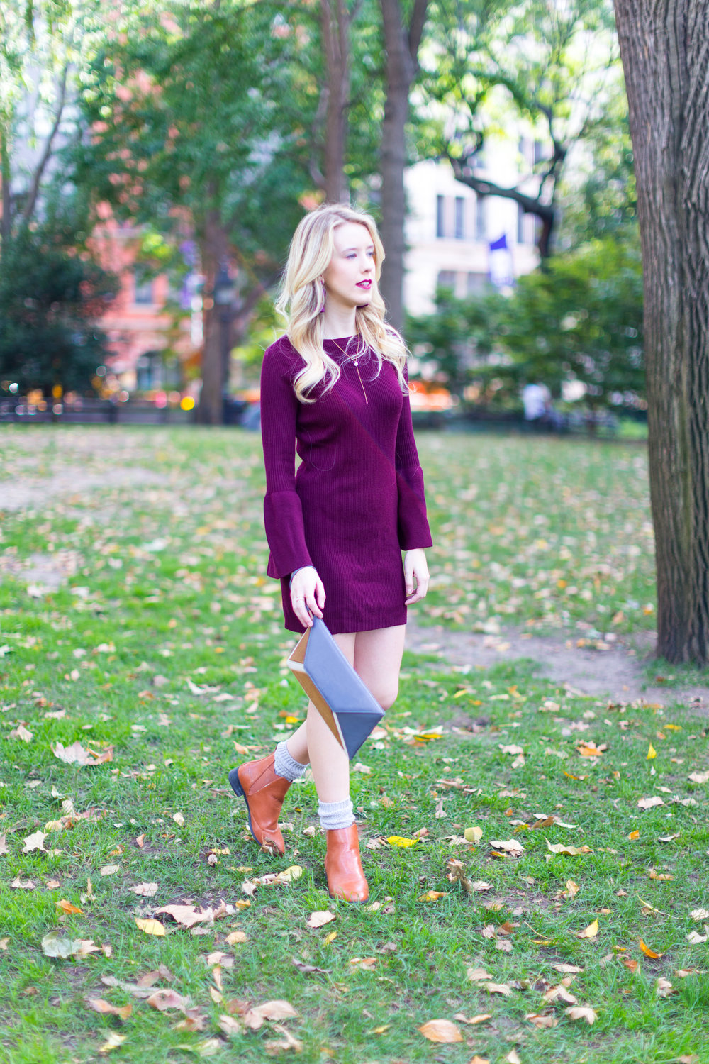 NYC Fall Fashion Burgundy Sweater Dress-5.jpg