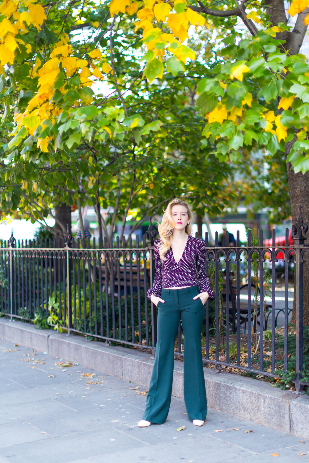 NYC Fall Fashion Trends Wrap Top Flare Pants-5.jpg