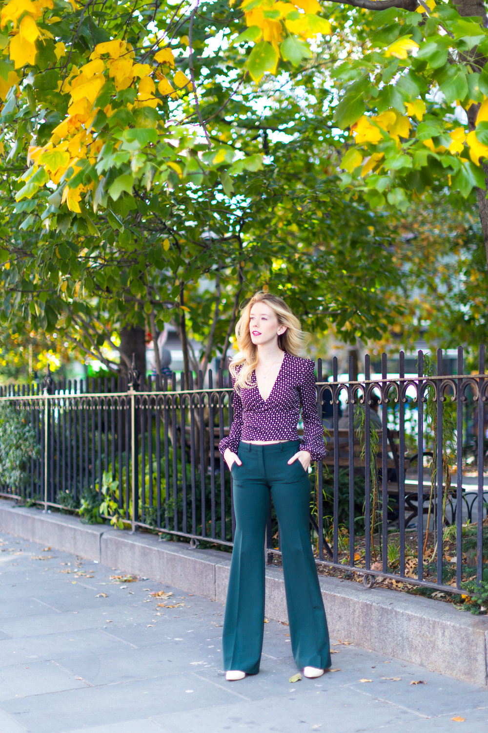NYC Fall Fashion Trends Wrap Top Flare Pants-6.jpg