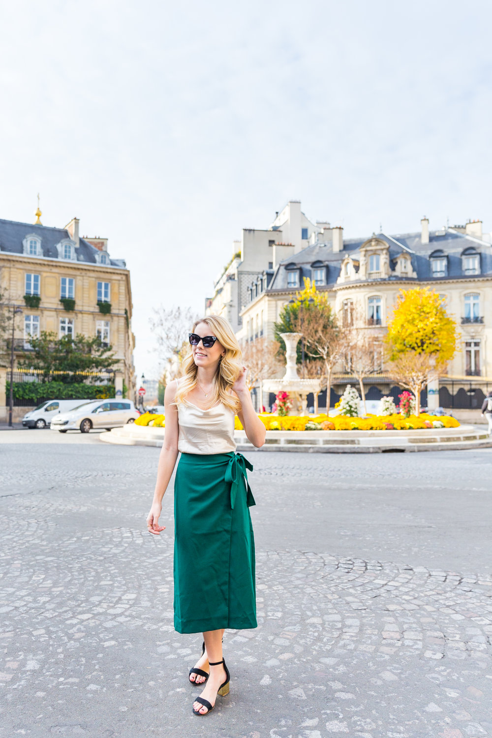 Paris Fall Fashion Silk Cami Green Wrap Skirt-3.jpg
