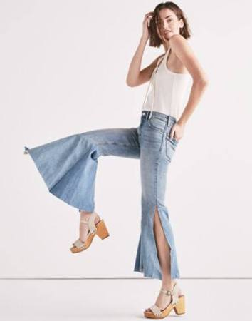 Flared jeans have been reinvented this season, with the flared that is pleated, circular, and often has as frayed hem. Fashion is always reinventing itself and this is a perfect example of blending the old with the new to create a fun style.