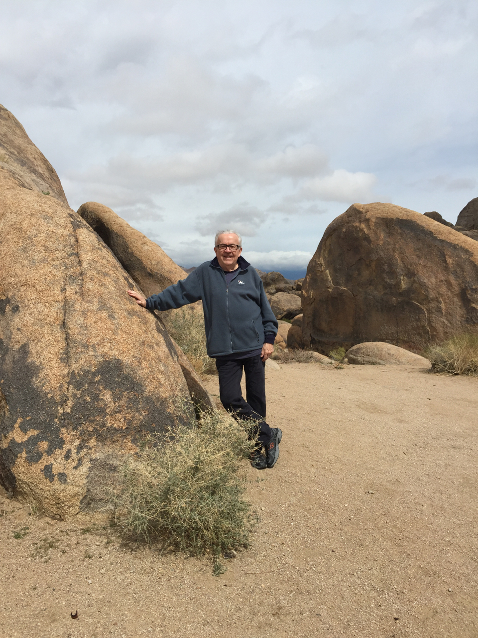 Bob out amonst the boulders and the desert scrub lands around Lone Pine, CA