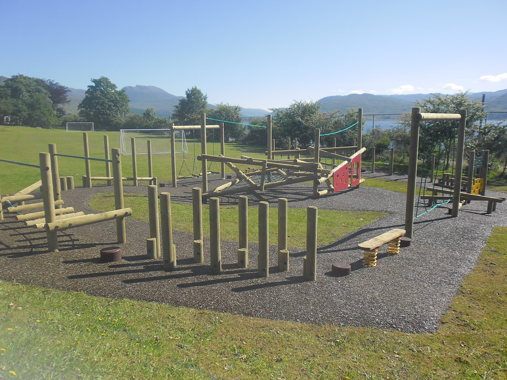 Trim Trail at the Lochcarron Primary School made possible with the help of the Lochcarron Highland Games