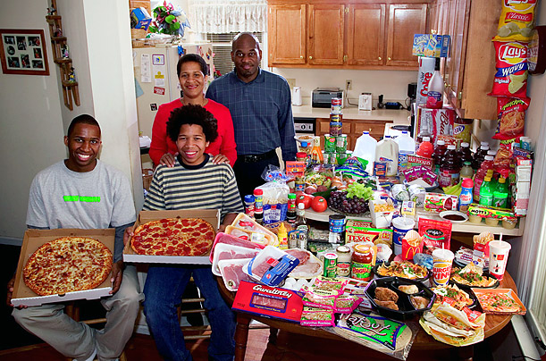 United States:  The Revis family of North Carolina   Food expenditure for one week : $341.98  Image copyright Peter Menzel, menzelphoto.com