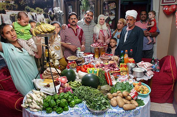Egypt: The Ahmed family of Cairo Food expenditure per week: 387.85 Egyptian Pounds ($68.53) Image copyright Peter Menzel, menzelphoto.com
