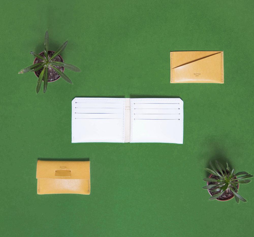 Porte carte en cuir Agathe, portefeuille en cuir Maxime et port carte en cuir Iso.