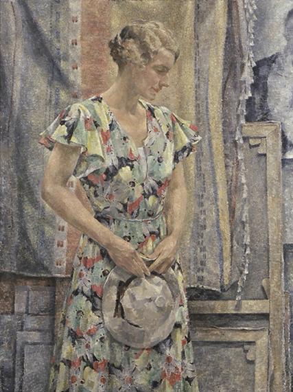 Norvald Valand:  I atelieret/Portrett av Clara Valand , 1935