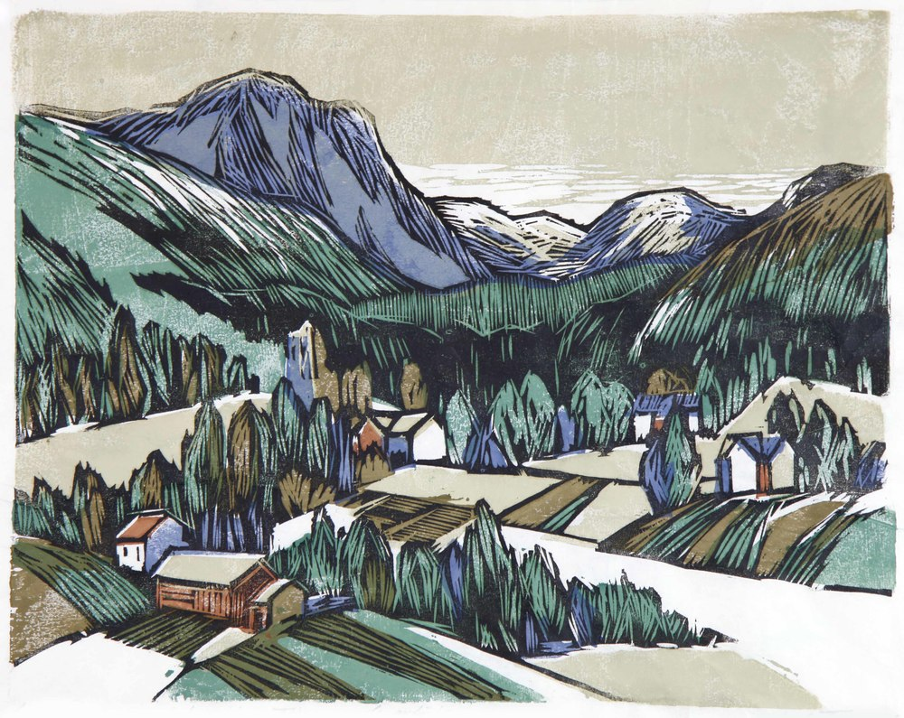 Alf Trana (N):  Landskap (Gudbrandsdal) , 1962, fargetresnitt