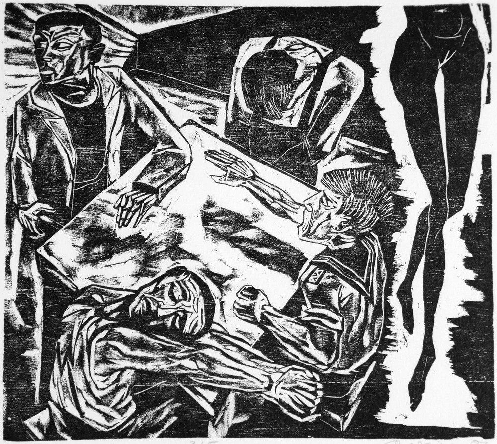 Andreas Weise:  Kneipe,  1987, tresnitt