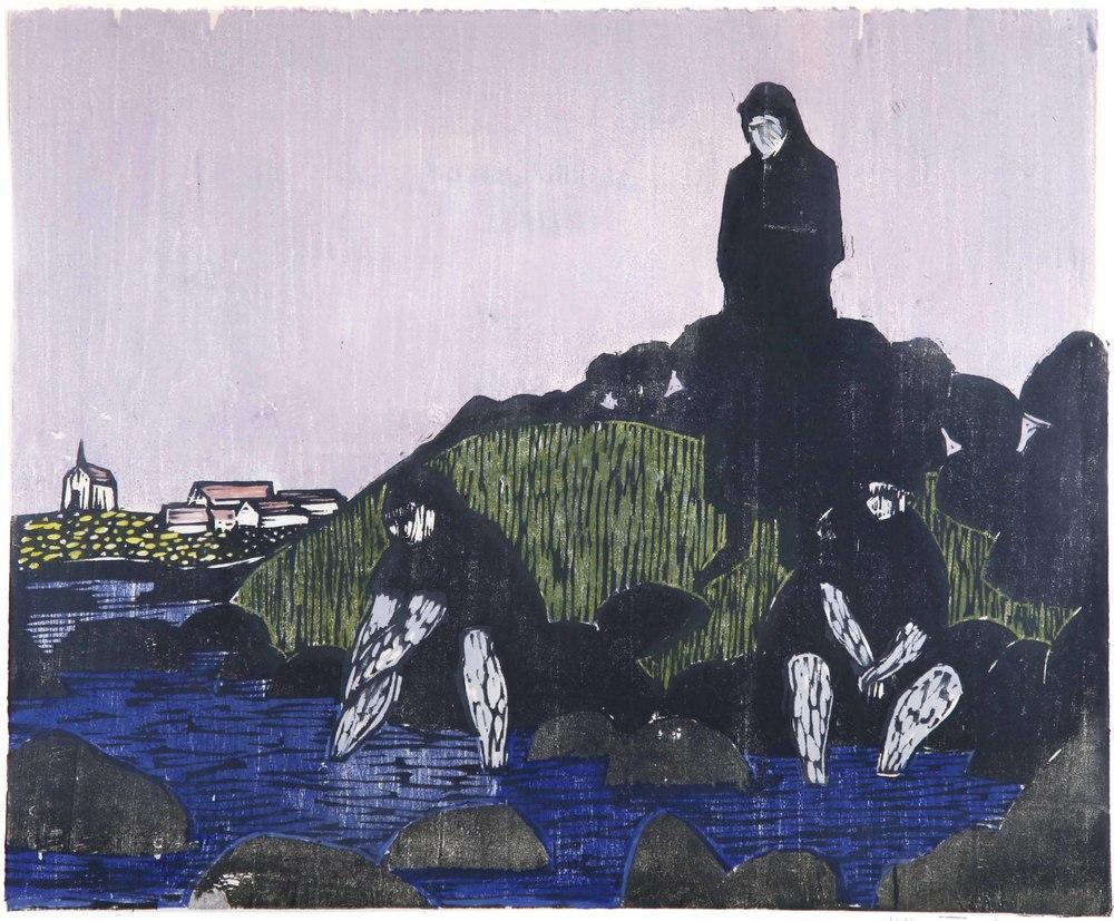 Wilhelm Tveteraas (N):  Tre sortkledde , 1963, fargetresnitt