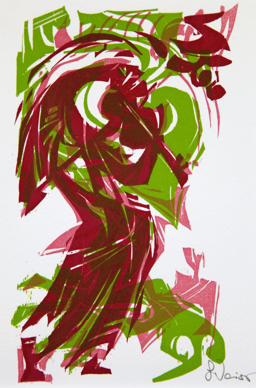 Lothar Weiss: Felespilleren , 1985 ca., fargetresnitt, 190 x 140 m.m.