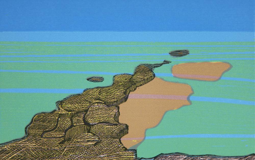 Jarle Rosseland: Klipper i havet, 1983, fargetresnitt, E.T., 340 x 280 m.m.