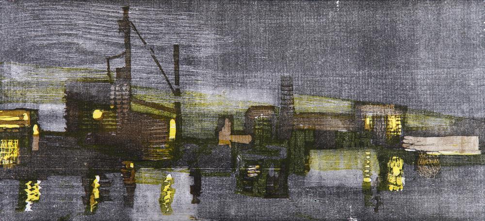 SVERRE OLAV HJERTSEN (NO):BISPEVIKA,CA. 1955, FARGETRESNITT,220 X 440MM