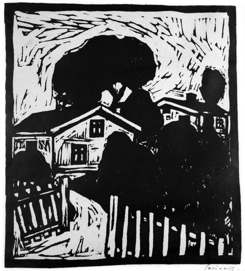 ØRNULF SALICATH (NO):HUS I LANDSKAP,1921, TRESNITT, 285X 260 MM
