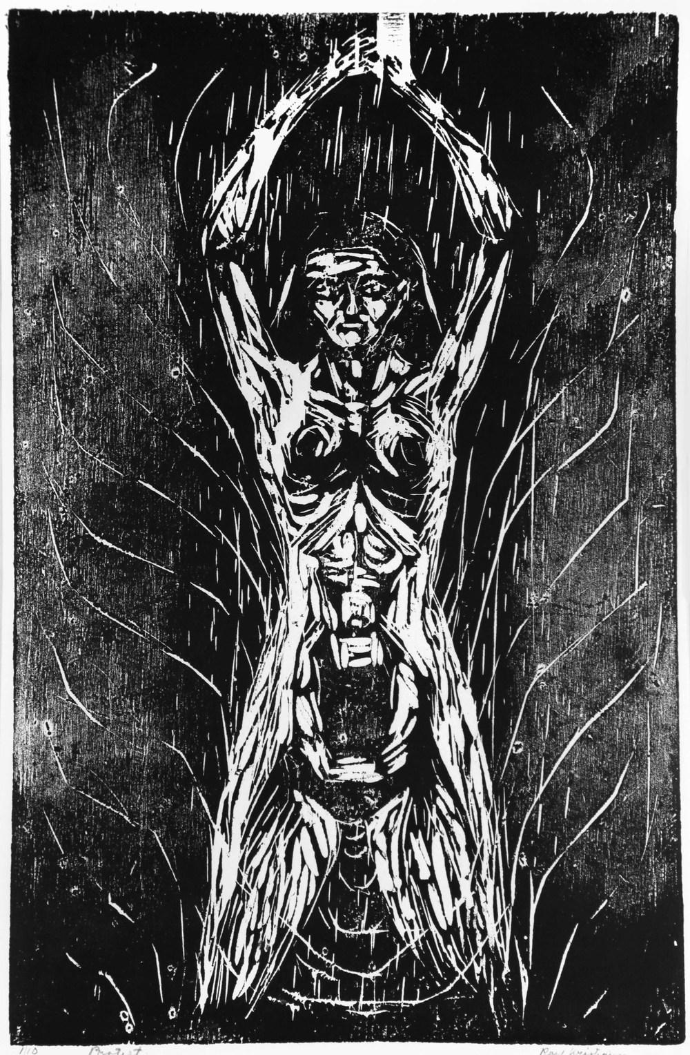 Rolf Kristiansen: Protest, 1950, tresnitt og xylografi, 460 X 300 mm