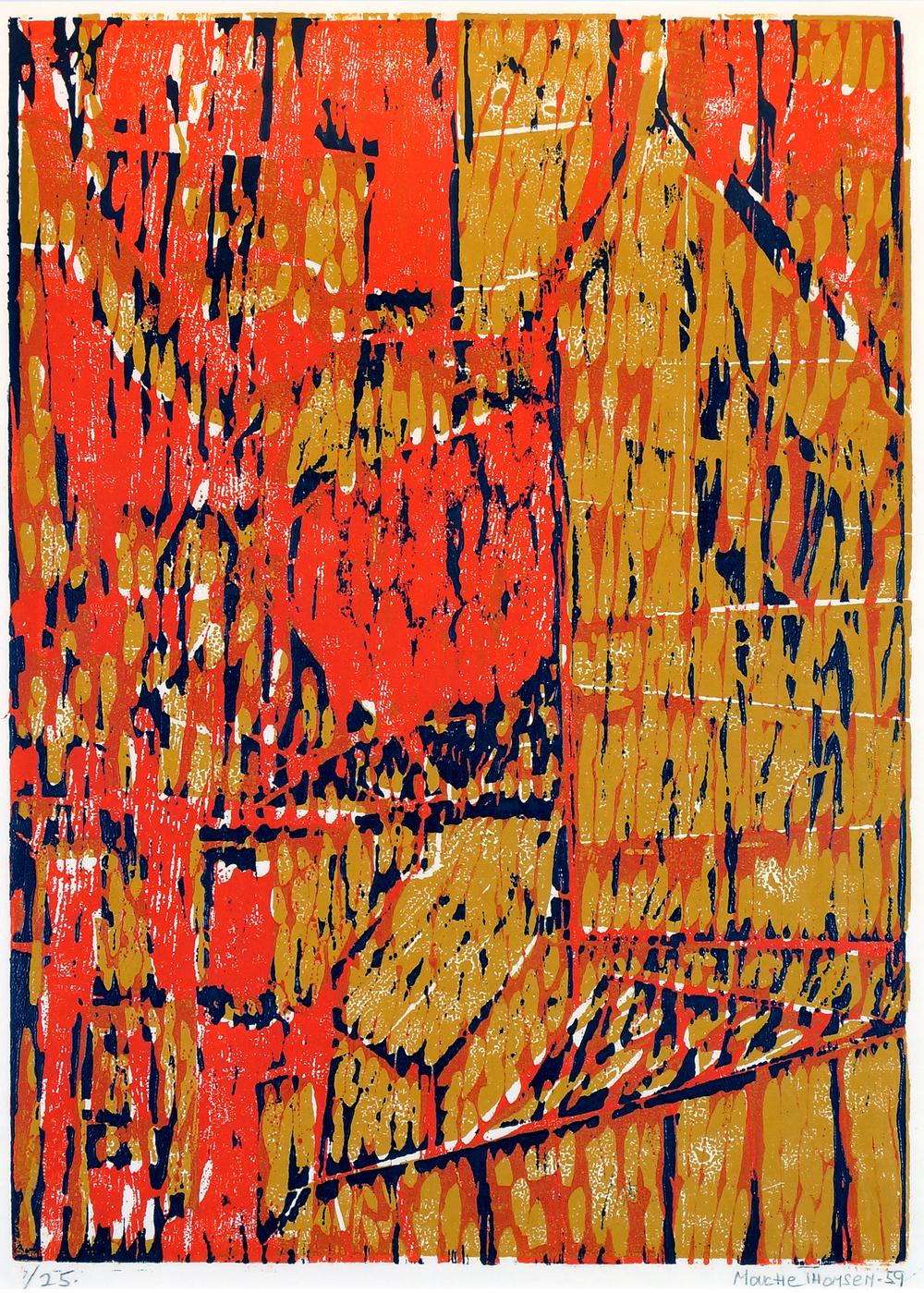 MOUCE THOMSEN (NO): KOMPOSISJON, 1950, FARGETRESNITT, 560 X 400 MM