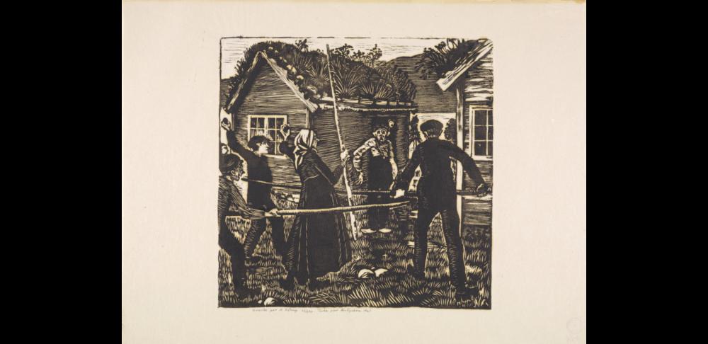 Tussingen jages, ca.1917 tresnitt av Nikolai Astrup