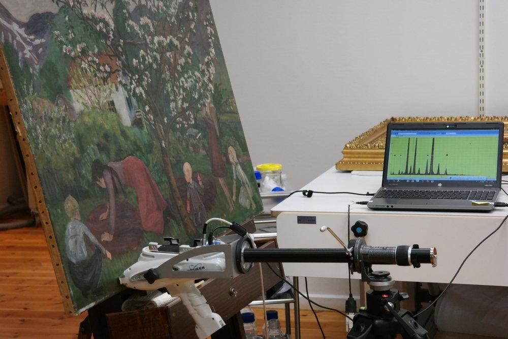 Foto av røntgenfluorescens-apparatet under målinger av Astrup-maleriet.