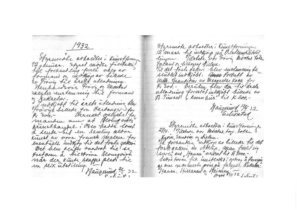 Protokoll, Haugesund Kunstforening 1932.