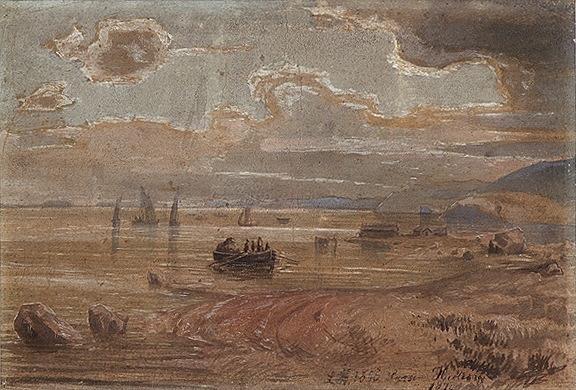 Lars Hertervig (1830-1902): Fjordlandskap, 1856/1874, gouache