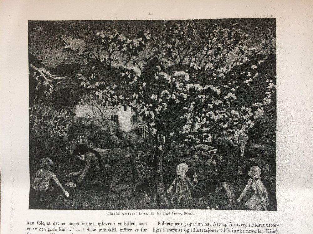 """Maleriet """"I hagen"""" gjengitt i tidsskriftet """"Samleren"""" i 1931."""