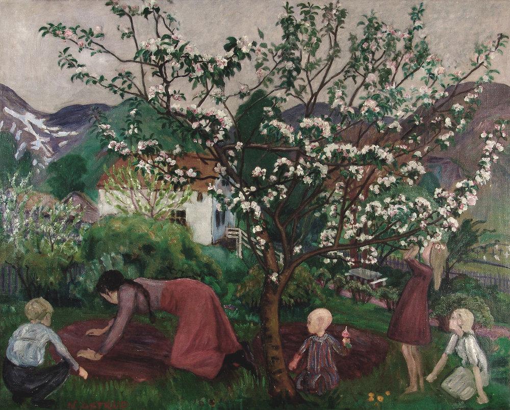 """I hagen"" (ant. 1908-1914) av Nikolai Astrup, Eier: Haugesund Billedgalleri"