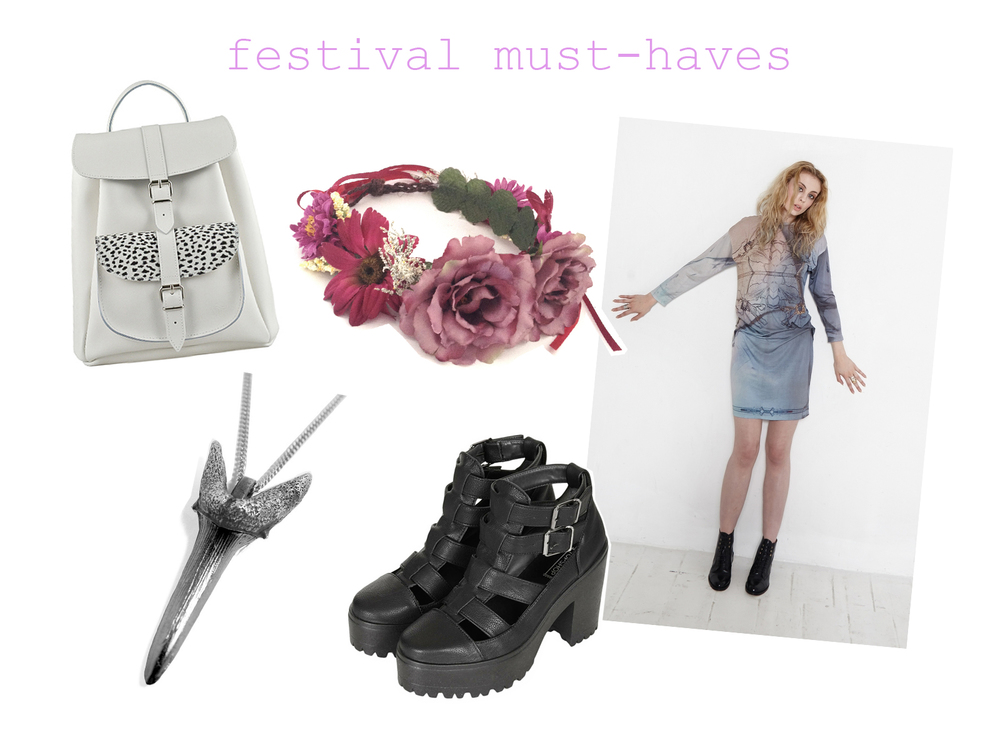 rucksack - Grafea  meadow garland flower crown - Crown and Glory goblin shark tooth necklace - Jill Urwin lohan dress - velvet johnstone arcade cut out boots - Topshop