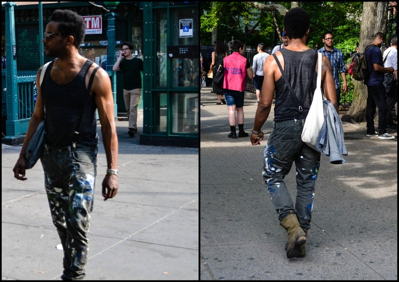 Splattered Paint, Suspenders & Tank on West 4th