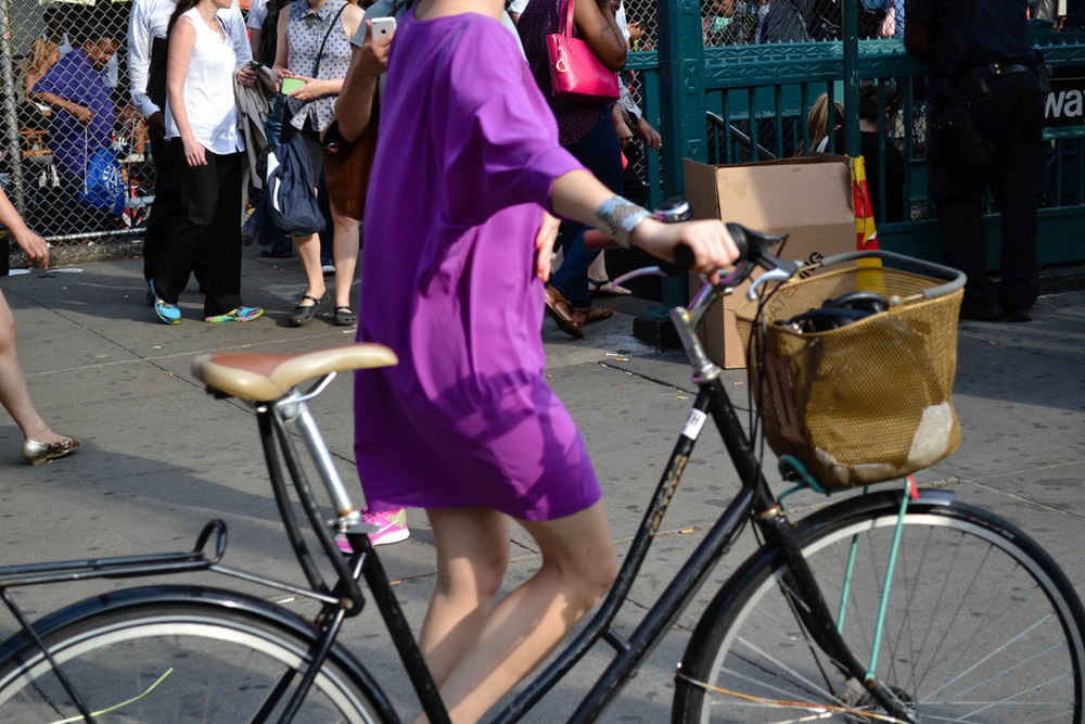 Purple dress, the bracelet, and the basket.