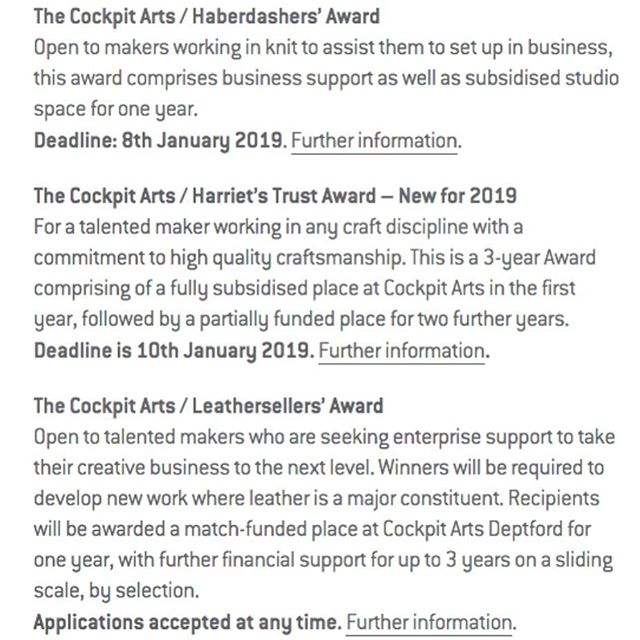 **opportunity** Do you need support to develop your craft & business goals? @cockpitarts are offering awards to do just that + a studio in Cockpits Creative community in London. Please share in yr networks.  Visit the website https://cockpitarts.com/maker-opportunties-dec18/