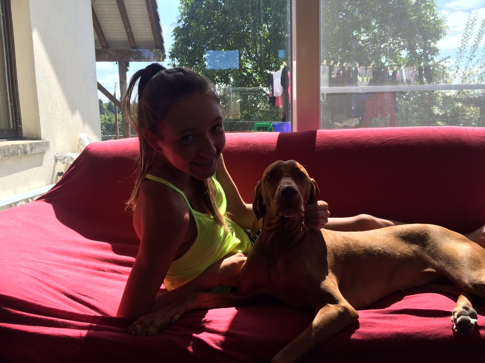 """Leonie back at home with her lovely dog """"Miley"""""""