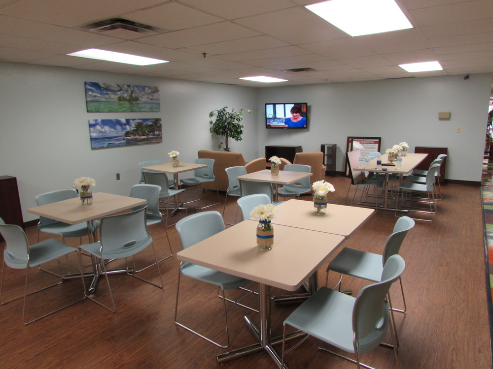 Newly renovated family dining hall in the Center of Hope, thank you Leadership St. Pete!
