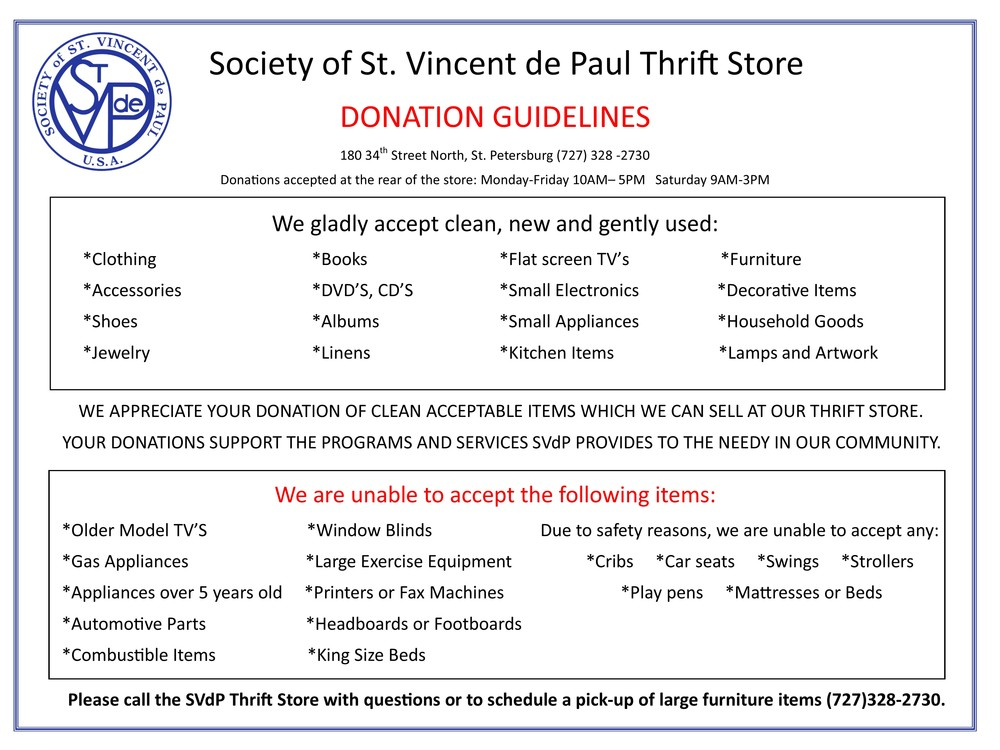 Thrift Store Society Of St Vincent De Paul South Pinellas Inc
